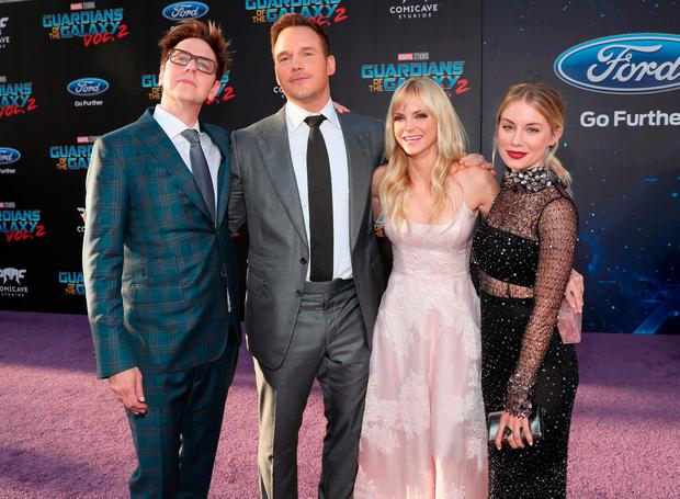 (L-R) Writer/director James Gunn, actors Chris Pratt, Anna Faris and Jennifer Holland at The World Premiere of Marvel Studios Guardians of the Galaxy Vol. 2. at Dolby Theatre in Hollywood, CA April 19th, 2017 (Photo by Rich Polk/Getty Images for Disney)