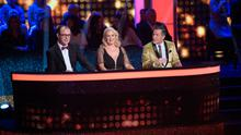 Judges Brian Redmond Lorraine Barry and Julian Benson  during the Live performance of RTE's Dancing with the Stars.