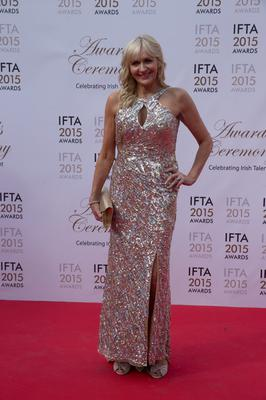 24/5/15 Miriam O'Callaghan pictured on the red carpet at the IFTA Awards at the Mansion House in Dublin. Picture: Arthur Carron