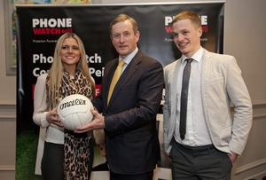 Enda Kenny, Siun and Pádraig Ó Sé pictured at last week's launch of the Phone Watch Comórtas Peile Páidi Ó Sé 2014