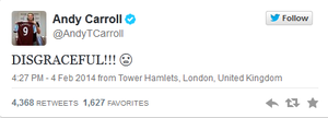 Andy Carroll's tweet following the FA's decision