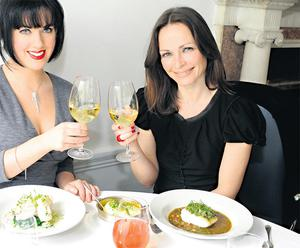 Sharon and Deirdre raise a toast in The Cliff Townhouse on St Stephen's Green in Dublin. DAVE MEEHAN
