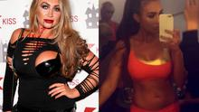 Lauren Goodger in October 2014 (left) and filming her workout DVD in October 2015 (right)