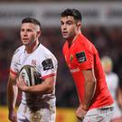 John Cooney (left) and Conor Murray are competing for the starting spot in the Irish team for the Six Nations opener. Photo by Harry Murphy/Sportsfile