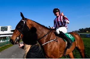 22 March 2020; Jockey Ben Harvey on Space Cadet after winning the Randox Ulster National Handicap Steeplechase at Downpatrick Racecourse in Downpatrick, Down. Photo by Ramsey Cardy/Sportsfile