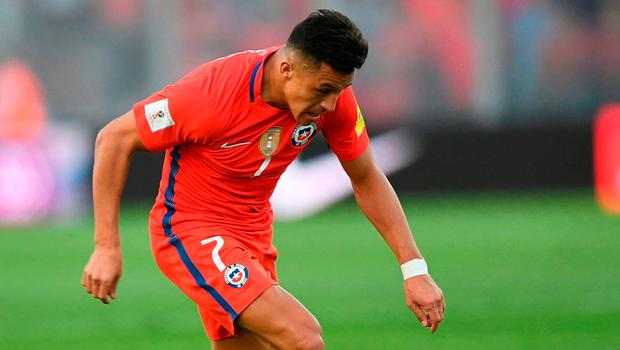 Arsenal forward Alexis Sanchez in action for Chile during the week. Photo: AFP/Getty Images
