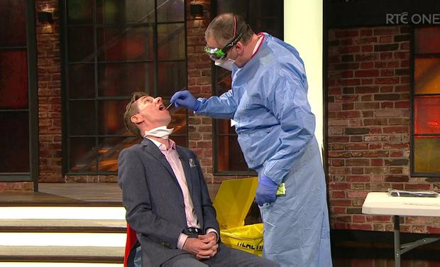 Procedure: Ryan Tubridy is shown how the test for Covid-19 works on 'The Late Late Show'