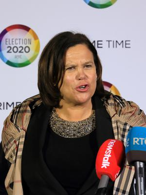 Sinn Féins Mary Lou McDonald pictured as she arrived at the RTE for the Prime Time Leaders Debate.Picture Credit:Frank McGrath 4/2/20