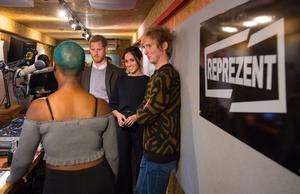 Britain's Prince Harry and his fiancée US actress Meghan Markle are shown around the studio during a visit to Reprezent 107.3FM community radio station in Brixton, south west London on January 9, 2018.   / AFP PHOTO / POOL / Dominic Lipinski        (Photo credit should read DOMINIC LIPINSKI/AFP/Getty Images)