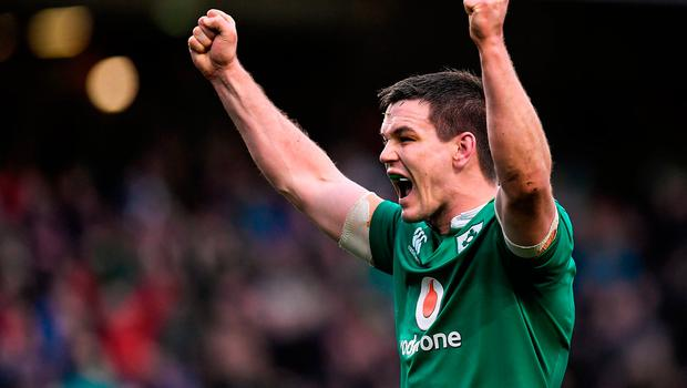 18 March 2017; Jonathan Sexton of Ireland celebrates a try by Iain Henderson during the RBS Six Nations Rugby Championship match between Ireland and England at the Aviva Stadium in Lansdowne Road, Dublin. Photo by Brendan Moran/Sportsfile