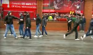 Roma hooligans outside Anfield in Liverpool before the Champions League game