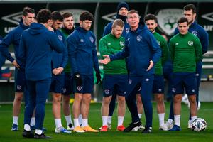 Ireland manager Stephen Kenny looks up to the skies during a training session in Abbotstown ahead of last November's Nations League game against Bulgaria. Photo: Stephen McCarthy/Sportsfile