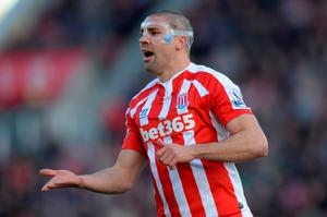 STOKE ON TRENT, ENGLAND - MARCH 21:  Jonathan Walters of Stoke City wears a protective mask during the Barclays Premier League match between Stoke City and Crystal Palace at Britannia Stadium on March 21, 2015 in Stoke on Trent, England.  (Photo by Gareth Copley/Getty Images)