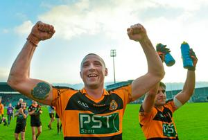 Kieran Donaghy, left, and Wayne Guthrie, Austin Stacks, celebrate after victory over Ballincollig. Picture credit: Diarmuid Greene / SPORTSFILE