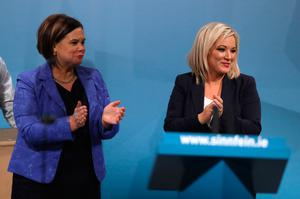 Sinn Fein President Mary Lou McDonald (left) and vice-president Michelle O'Neill  Photo: Brian Lawless/PA Wire
