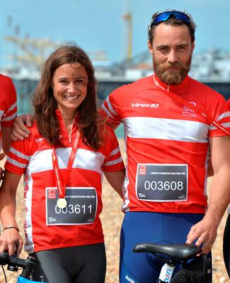Pippa Middleton and James Middleton Finish the London To Brighton Bike Ride For British Heart Foundation on June 21, 2015 in Brighton, England.  (Photo by Anthony Harvey/Getty Images)