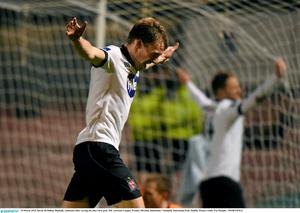 David McMillan, Dundalk, celebrates after scoring his side's first goal. SSE Airtricity League, Premier Division, Bohemians v Dundalk. Dalymount Park, Dublin. Picture credit: Pat Murphy / SPORTSFILE