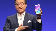 Samsung President DJ Lee presents the new phablet Galaxy Note 4 at the Unpacked 2014 Episode 2 event ahead of the IFA Electronics show in Berlin