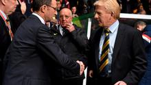 Republic of Ireland manager Martin O'Neill, left, and Scotland manager Gordon Strachan before the game. UEFA EURO 2016 Championship Qualifer, Group D, Scotland v Republic of Ireland, Celtic Park, Glasgow, Scotland. Picture credit: David Maher / SPORTSFILE