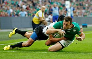 Ireland's Tommy Bowe scores their fifth try