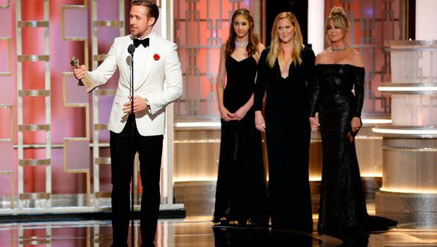 """Ryan Gosling accepts the award for Best Actor in a Motion Picture - Musical or Comedy for his role in """"La La Land"""" during the 74th Annual Golden Globe Awards at The Beverly Hilton Hotel on January 8, 2017 in Beverly Hills, California. (Photo by Paul Drinkwater/NBCUniversal via Getty Images)"""