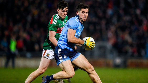 David Byrne of Dublin in action against James Durcan of Mayo. Photo by Harry Murphy/Sportsfile