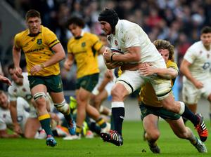 Ben Morgan of England charges toward the try line during the QBE international match between England and Australia at Twickenham