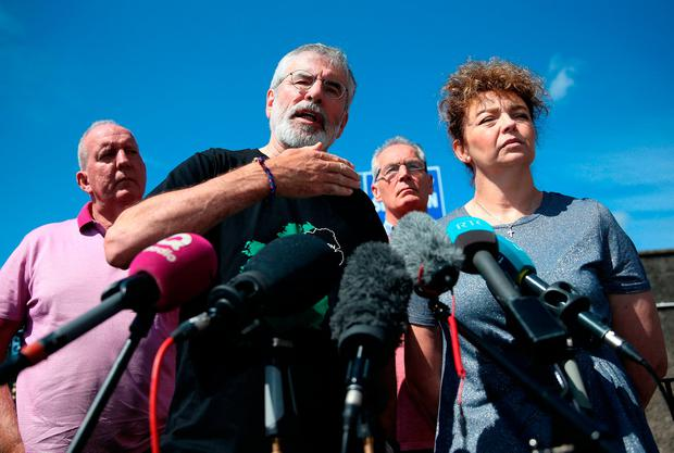 Former Sinn Fein president Gerry Adams at a press conference at Connolly House in Belfast alongside prominent Sinn Fein members (from left) Bobby Storey, Gerry Kelly, and Caral Ni Chuilin following an explosives device attack on his and Bobby Storey's homes. Photo: PA Wire