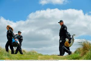 26 May 2015; Ernie Els walks the 2nd fairway during his practice round. Dubai Duty Free Irish Open Golf Championship 2015, Practice Day 2. Royal County Down Golf Club, Co. Down. Picture credit: Ramsey Cardy / SPORTSFILE