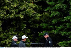 26 May 2015; Ernie Els makes his way to the 1st tee box ahead of his practice round. Dubai Duty Free Irish Open Golf Championship 2015, Practice Day 2. Royal County Down Golf Club, Co. Down. Picture credit: Ramsey Cardy / SPORTSFILE