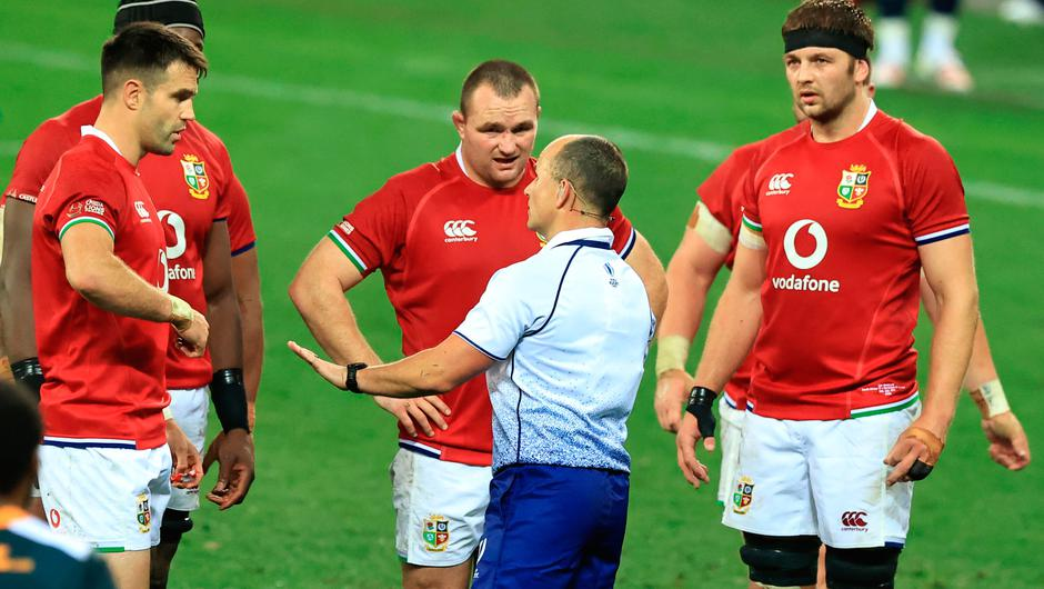 Referee Jaco Peyper explains to British & Irish Lions captain Conor Murray (l) Ken Owens (c) and Iain Henderson his decision not to award a try during the match between South Africa 'A' and the British and Irish Lions. (Photo by David Rogers/Getty Images)