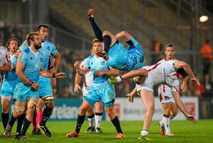 Ricky Andrew, Ulster, and Brendon Leonard, Zebre, contest a high ball  for which the Ulster player received a yellow card. Oliver McVeigh / SPORTSFILE