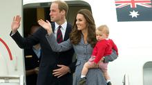 Prince William, Kate Middleton and Prince George depart Canberra on the Royal Australian Air Force aircraft to transfer to an international commercial flight to London during the eighteenth day of their official tour to New Zealand and Australia. Anthony Devlin/PA Wire