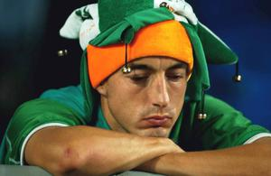 A dejected Republic of Ireland fan pictured after the game. FIFA World Cup Finals, 2nd Round, Republic of Ireland v Spain, Suwon World cup stadium, Suwon, Korea. Picture credit; David Maher / SPORTSFILE *EDI*