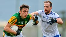 David Clifford holds off Monaghan's Conor Boyle. Photo: Sportsfile