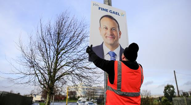 Election posters for Leo Varadkar are placed on streetlights in Dublin 15 as election 2020 gets underway. Picture; Gerry Mooney