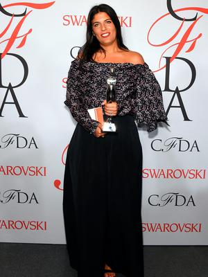 NEW YORK, NY - JUNE 01:  Designer Rosie Assoulin poses on the winners walk at the 2015 CFDA Fashion Awards at Alice Tully Hall at Lincoln Center on June 1, 2015 in New York City.  (Photo by Larry Busacca/Getty Images)