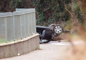 Scene of car crash at Forest Road Swords . Photo: Tony Gavin