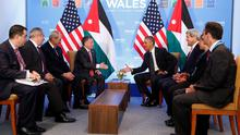 """""""We refuse to join Nato, but hide behind it. We do plenty of pointless posturing, though"""" writes Ruth Dudley Edwards. Here, U.S. President Barack Obama (R) and Jordan's King Abdullah II reach to shake hands during a meeting at the NATO Summit at the Celtic Manor Resort in Newport, Wales, September 4, 2014 (REUTERS/Larry Downing)"""