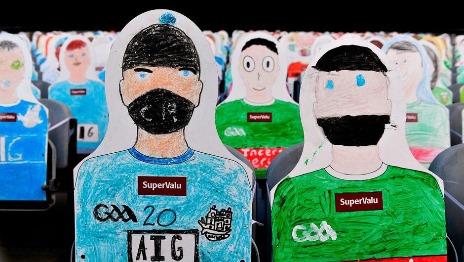 A general view of the 'Supporters' drawn and coloured by school children from Mayo and Dublin in the Cusack Stand prior to the GAA Football All-Ireland Senior Championship Final at Croke Park. Photo by Sam Barnes/Sportsfile
