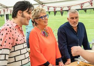 Noel Fielding with judges Prue Leith and Paul Hollywood (Mark Vourdillon/PA)