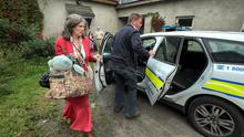 Monica O'Connor pictured being taken by Gardai from her home in Tullow Co. Carlow to prison. Photo: Dylan Vaughan