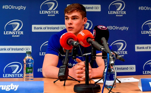 Garry Ringrose fields questions during yesterday's Leinster press conference (SPORTSFILE)