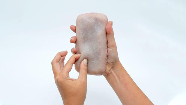 More than skin deep: University researchers have produced this prototype of the artificial skin for phones. Photo: Marc Teyssier/Telecomm ParisTech/PA Wire