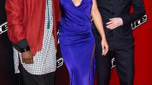 """Will.i.am, Ricky Wilson and Rita Ora attend the launch of """"The Voice UK"""" Series 4 at The Mondrian Hotel on January 5, 2015 in London, England."""