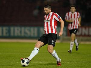 Derry equalised on 29 minutes thanks to Rory Patterson's low drive from just inside the box (Oliver McVeigh / SPORTSFILE)