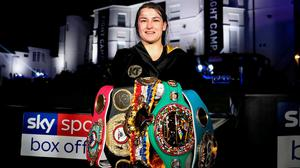 Our hero: Katie Taylor celebrates her victory over Delfine Persoon after their lightweight title fight at Brentwood in Essex. Photo: Mark Robinson / Matchroom Boxing via Sportsfile