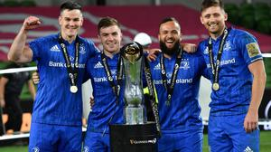 Leinster players (from left) Johnny Sexton, Luke McGrath, Jamison Gibson-Park and Ross Byrne celebrate their recent PRO14 success