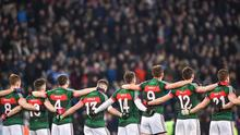4 March 2017; The Mayo team stand for the national anthem ahead of the Allianz Football League Division 1 Round 4 match between Dublin and Mayo at Croke Park in Dublin. Photo by David Fitzgerald/Sportsfile