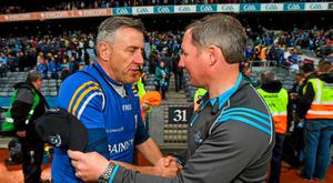 Longford manager Jack Sheedy and Dublin manager Jim Gavin shake hands after the game